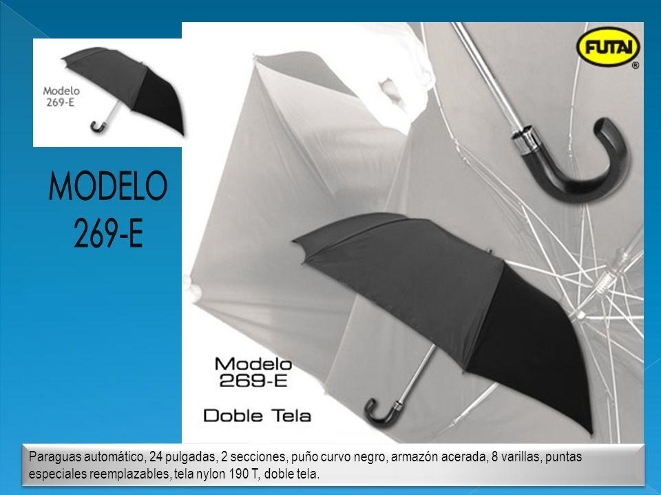 Paraguas automático, 24 pulgadas, 2 secciones, puño curvo negro, armazón acerada, 8 varillas, puntas especiales reemplazables, tela nylon 190 T, doble