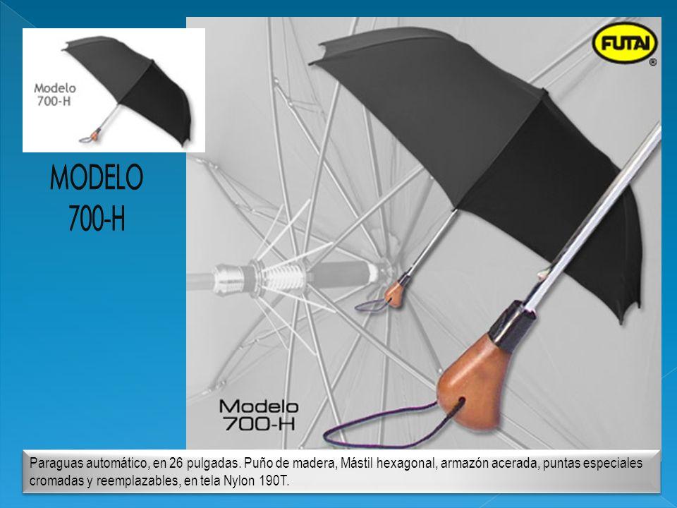 Paraguas automático, en 26 pulgadas. Puño de madera, Mástil hexagonal, armazón acerada, puntas especiales cromadas y reemplazables, en tela Nylon 190T
