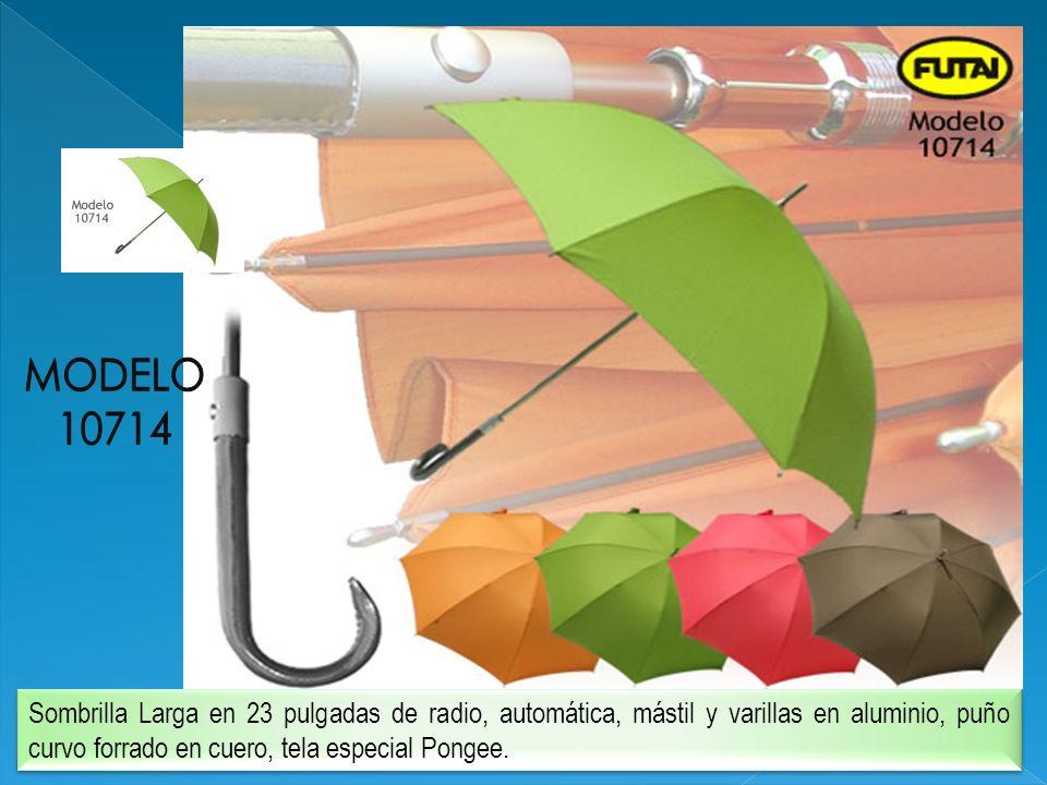 Sombrilla Larga en 23 pulgadas de radio, automática, mástil y varillas en aluminio, puño curvo forrado en cuero, tela especial Pongee.
