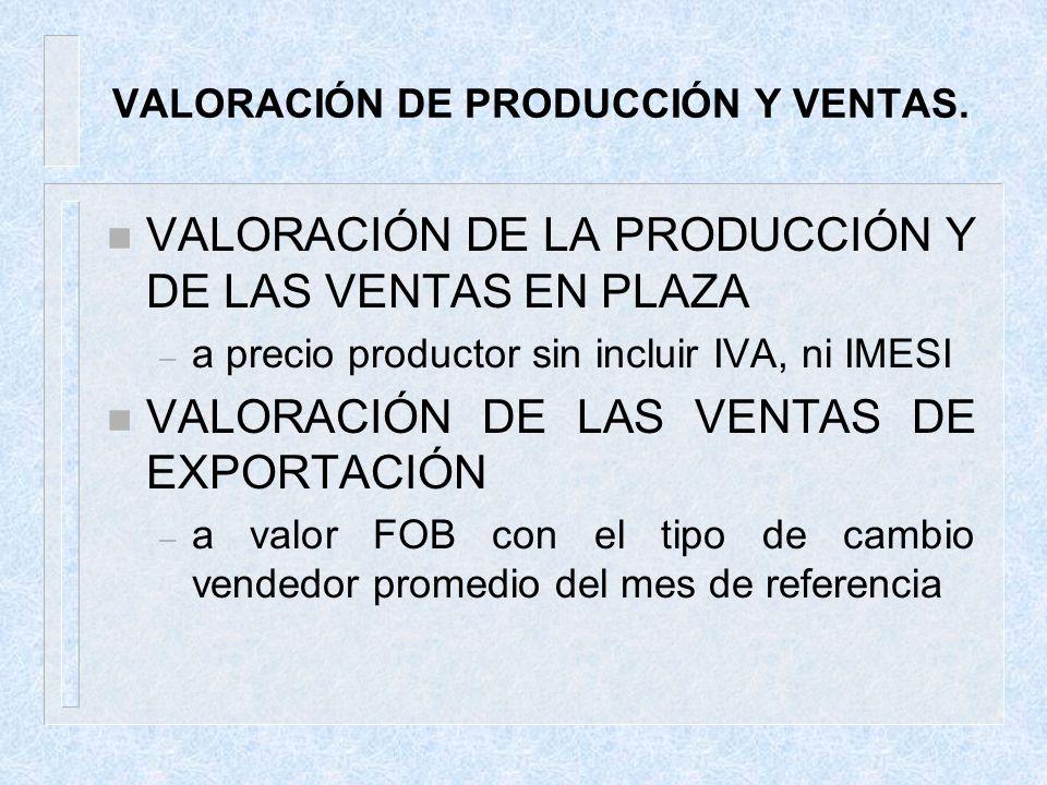 VALORACIÓN DE PRODUCCIÓN Y VENTAS. n VALORACIÓN DE LA PRODUCCIÓN Y DE LAS VENTAS EN PLAZA – a precio productor sin incluir IVA, ni IMESI n VALORACIÓN