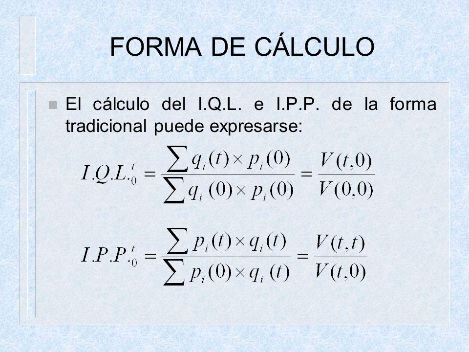 FORMA DE CÁLCULO El cálculo del I.Q.L. e I.P.P. de la forma tradicional puede expresarse: