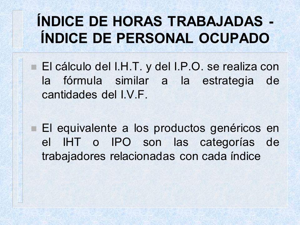 ÍNDICE DE HORAS TRABAJADAS - ÍNDICE DE PERSONAL OCUPADO n El cálculo del I.H.T. y del I.P.O. se realiza con la fórmula similar a la estrategia de cant