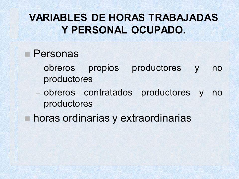 VARIABLES DE HORAS TRABAJADAS Y PERSONAL OCUPADO. n Personas – obreros propios productores y no productores – obreros contratados productores y no pro