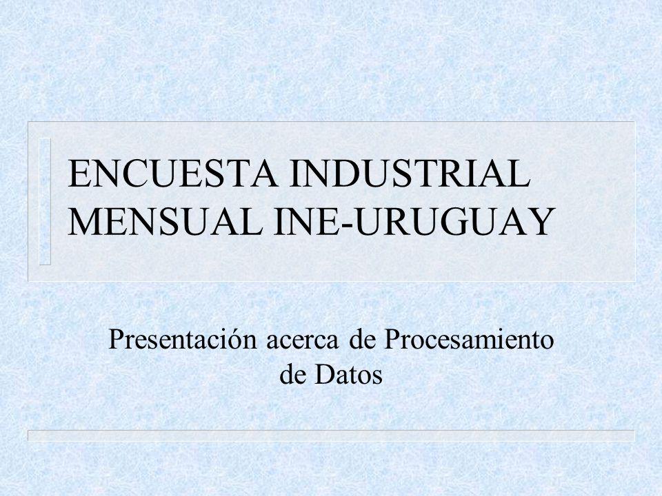 ENCUESTA INDUSTRIAL MENSUAL INE-URUGUAY Presentación acerca de Procesamiento de Datos