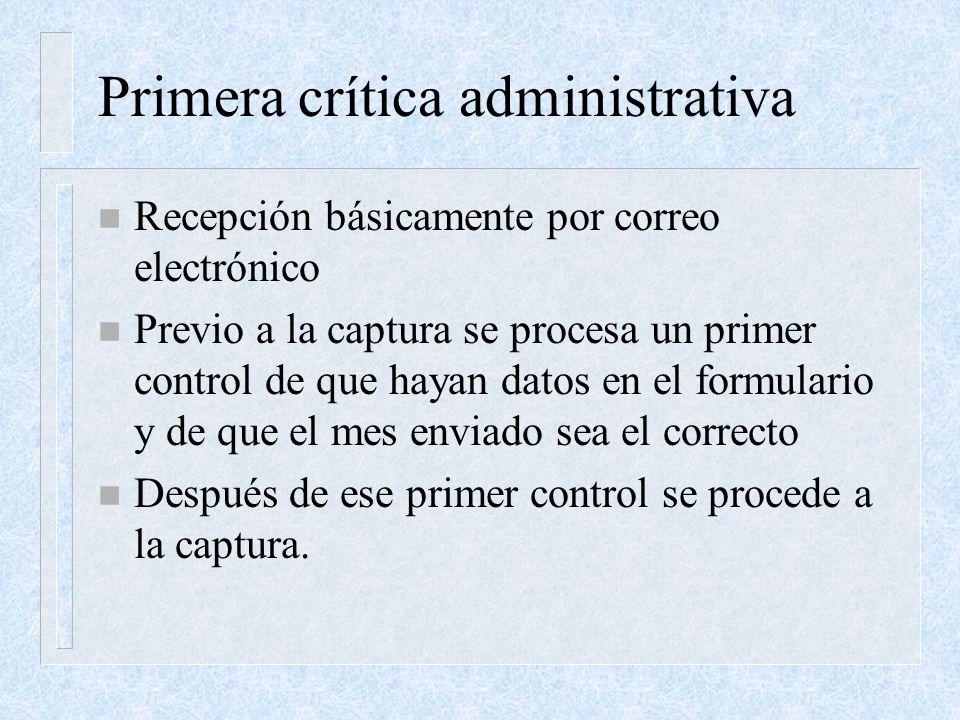 Primera crítica administrativa n Recepción básicamente por correo electrónico n Previo a la captura se procesa un primer control de que hayan datos en