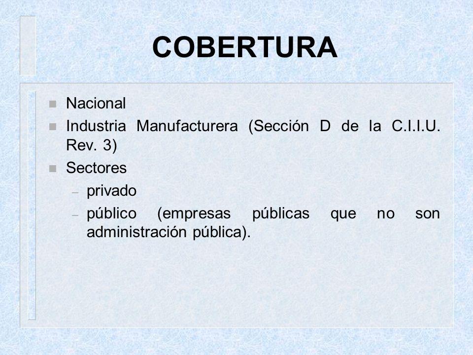 COBERTURA n Nacional n Industria Manufacturera (Sección D de la C.I.I.U. Rev. 3) n Sectores – privado – público (empresas públicas que no son administ