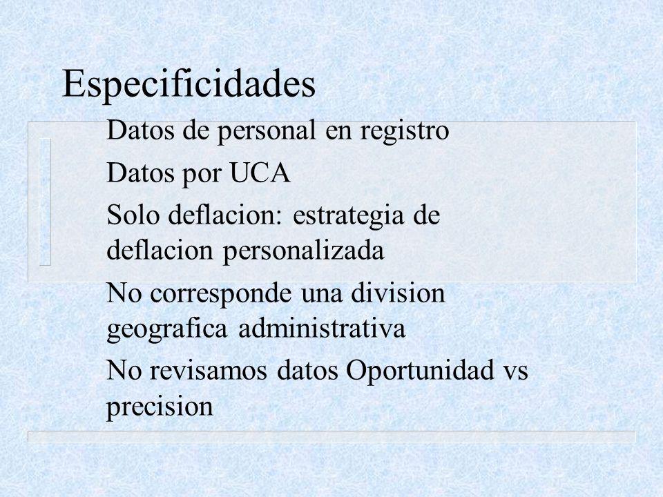 Especificidades Datos de personal en registro Datos por UCA Solo deflacion: estrategia de deflacion personalizada No corresponde una division geografi