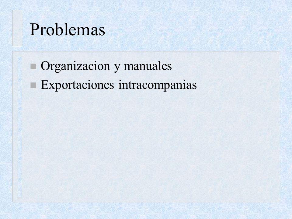 Problemas n Organizacion y manuales n Exportaciones intracompanias