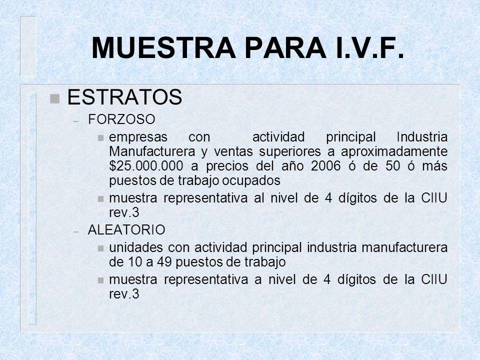 MUESTRA PARA I.V.F. n ESTRATOS – FORZOSO n empresas con actividad principal Industria Manufacturera y ventas superiores a aproximadamente $25.000.000