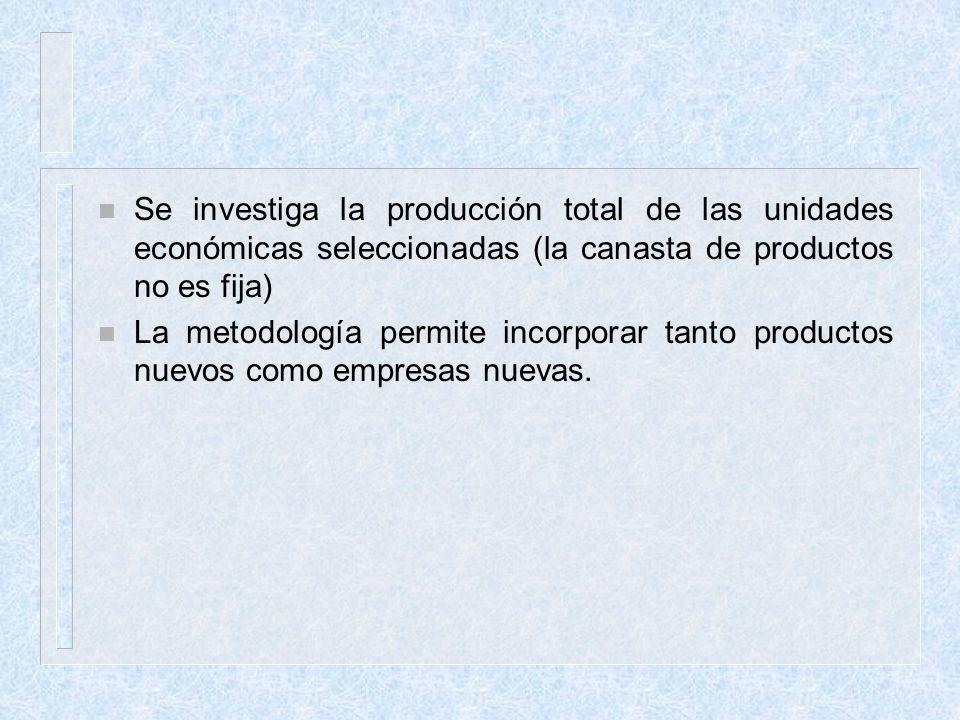 n Se investiga la producción total de las unidades económicas seleccionadas (la canasta de productos no es fija) n La metodología permite incorporar t