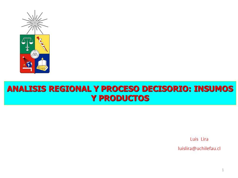 ANALISIS REGIONAL Y PROCESO DECISORIO: INSUMOS Y PRODUCTOS 1 Luis Lira luislira@uchilefau.cl