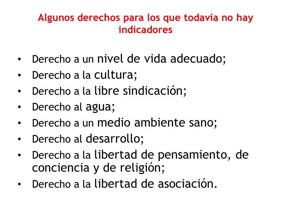 Algunos derechos para los que todavía no hay indicadores Derecho a un nivel de vida adecuado; Derecho a la cultura; Derecho a la libre sindicación; De