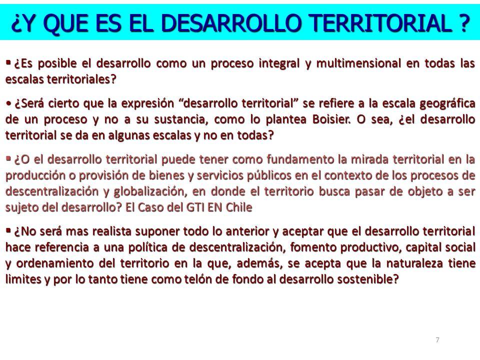 ¿Y QUE ES EL DESARROLLO TERRITORIAL ? 7 ¿Es posible el desarrollo como un proceso integral y multimensional en todas las escalas territoriales? ¿Es po