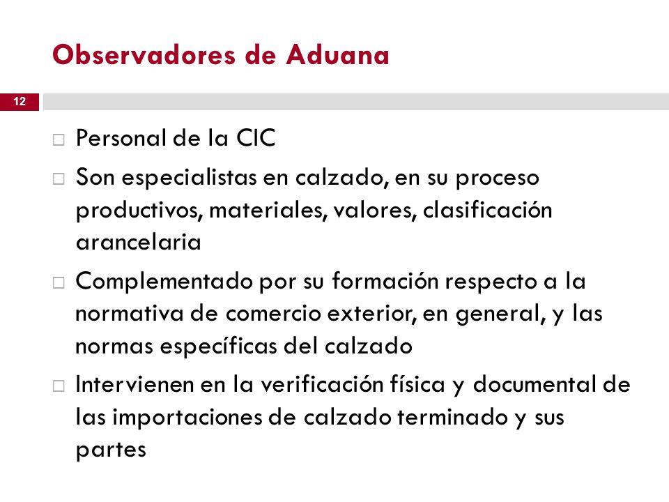 Observadores de Aduana Personal de la CIC Son especialistas en calzado, en su proceso productivos, materiales, valores, clasificación arancelaria Comp