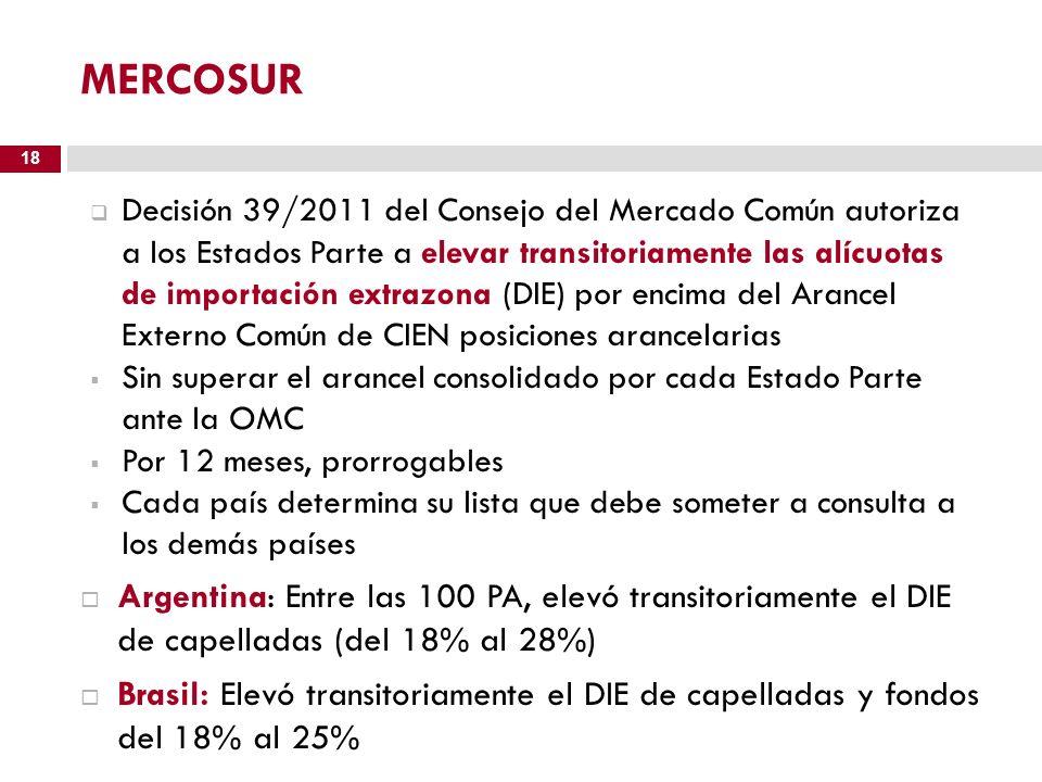 MERCOSUR Decisión 39/2011 del Consejo del Mercado Común autoriza a los Estados Parte a elevar transitoriamente las alícuotas de importación extrazona