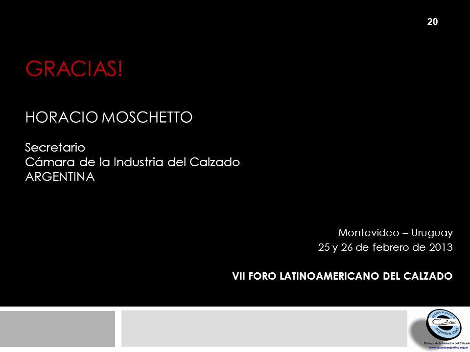 GRACIAS! HORACIO MOSCHETTO Secretario Cámara de la Industria del Calzado ARGENTINA Montevideo – Uruguay 25 y 26 de febrero de 2013 VII FORO LATINOAMER