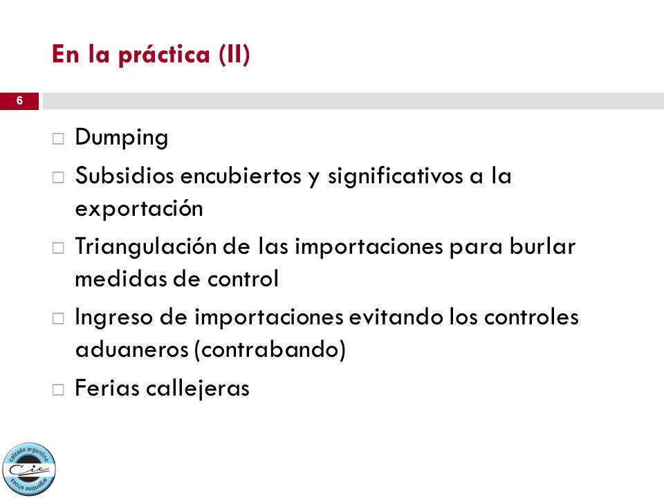 Dumping Subsidios encubiertos y significativos a la exportación Triangulación de las importaciones para burlar medidas de control Ingreso de importaci
