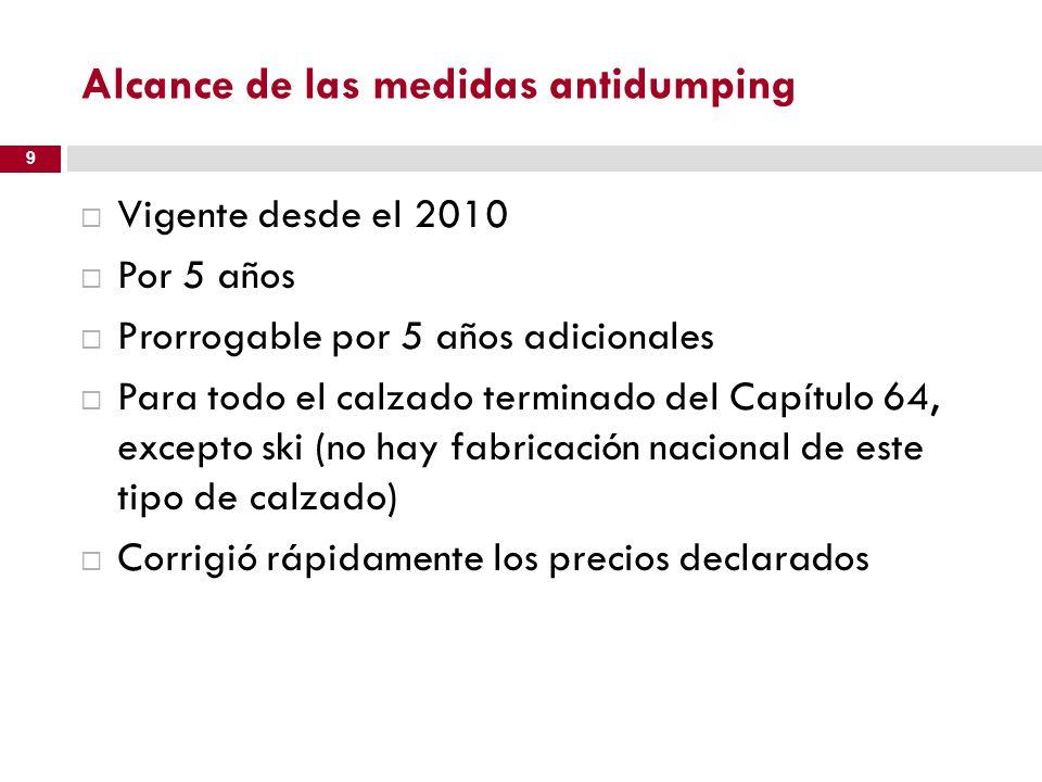 Alcance de las medidas antidumping Vigente desde el 2010 Por 5 años Prorrogable por 5 años adicionales Para todo el calzado terminado del Capítulo 64,