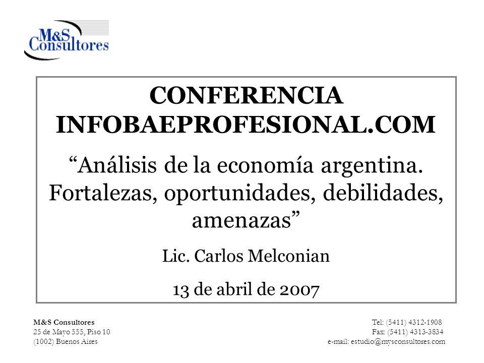 M&S Consultores Tel: (5411) 4312-1908 25 de Mayo 555, Piso 10 Fax: (5411) 4313-3834 (1002) Buenos Aires e-mail: estudio@mysconsultores.com CONFERENCIA