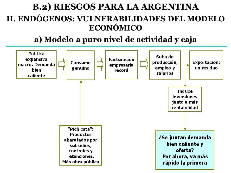 B.2) RIESGOS PARA LA ARGENTINA II. ENDÓGENOS: VULNERABILIDADES DEL MODELO ECONÓMICO a) Modelo a puro nivel de actividad y caja