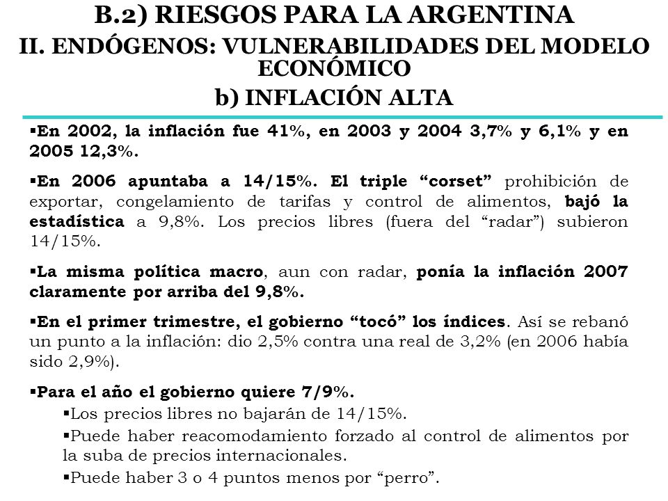 En 2002, la inflación fue 41%, en 2003 y 2004 3,7% y 6,1% y en 2005 12,3%. En 2006 apuntaba a 14/15%. El triple corset prohibición de exportar, congel