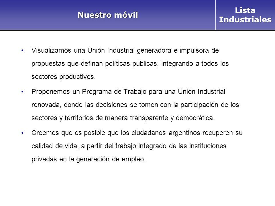 Lista Industriales Nuestro móvil Visualizamos una Unión Industrial generadora e impulsora de propuestas que definan políticas públicas, integrando a todos los sectores productivos.