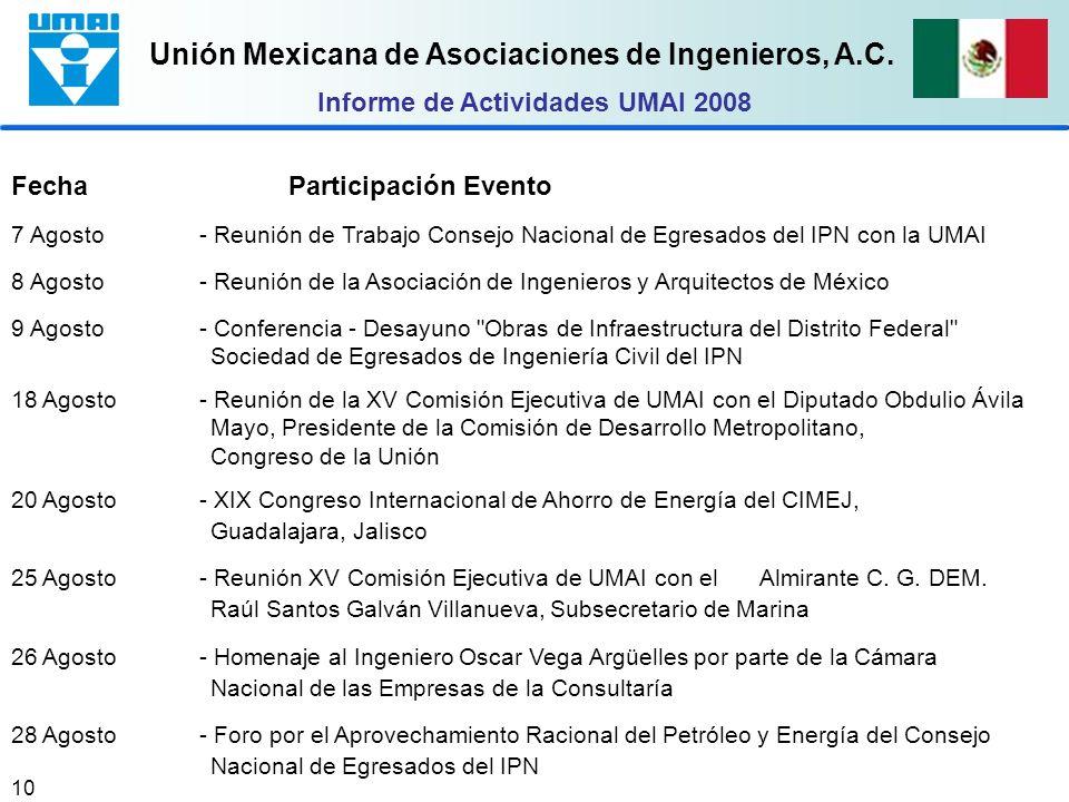 Unión Mexicana de Asociaciones de Ingenieros, A.C. 10 Fecha Participación Evento 7 Agosto- Reunión de Trabajo Consejo Nacional de Egresados del IPN co