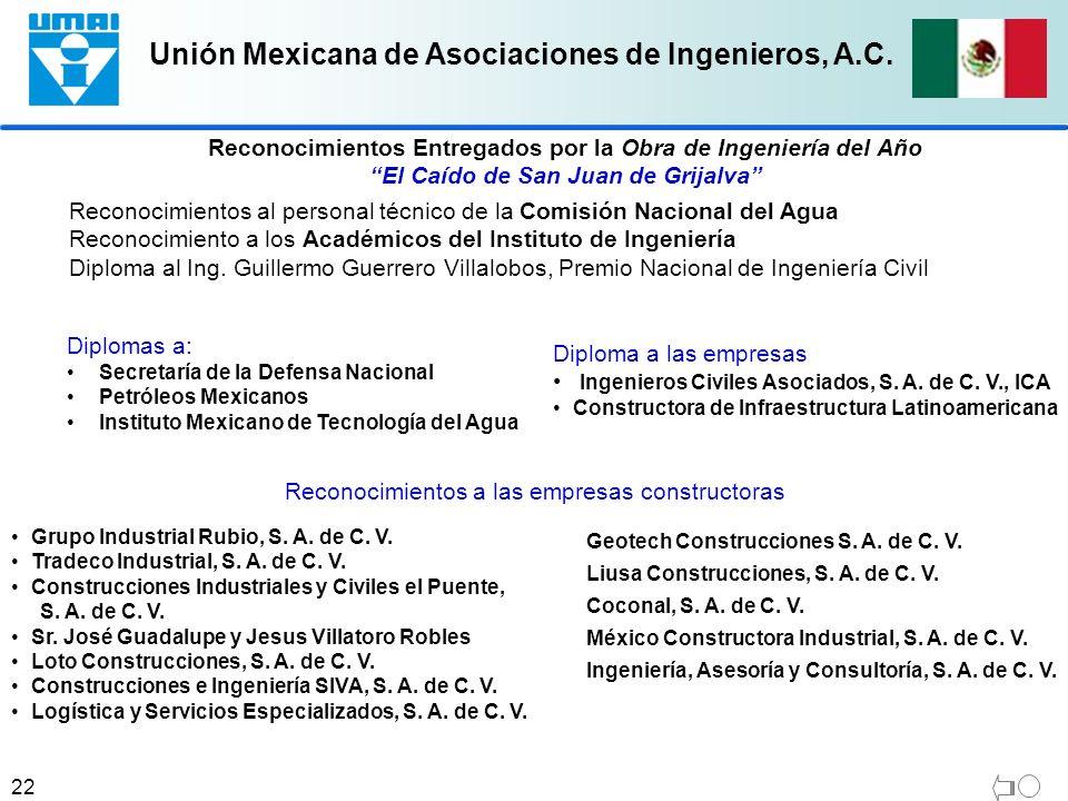 Unión Mexicana de Asociaciones de Ingenieros, A.C. 22 Reconocimientos al personal técnico de la Comisión Nacional del Agua Reconocimiento a los Académ