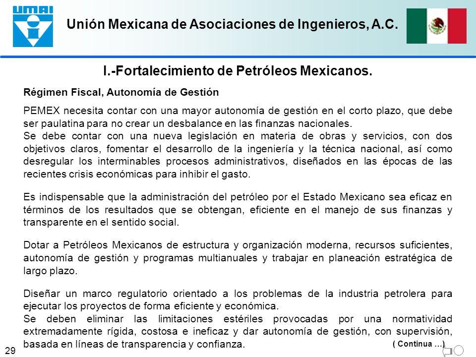 Unión Mexicana de Asociaciones de Ingenieros, A.C. 29 I.-Fortalecimiento de Petróleos Mexicanos. Régimen Fiscal, Autonomía de Gestión PEMEX necesita c