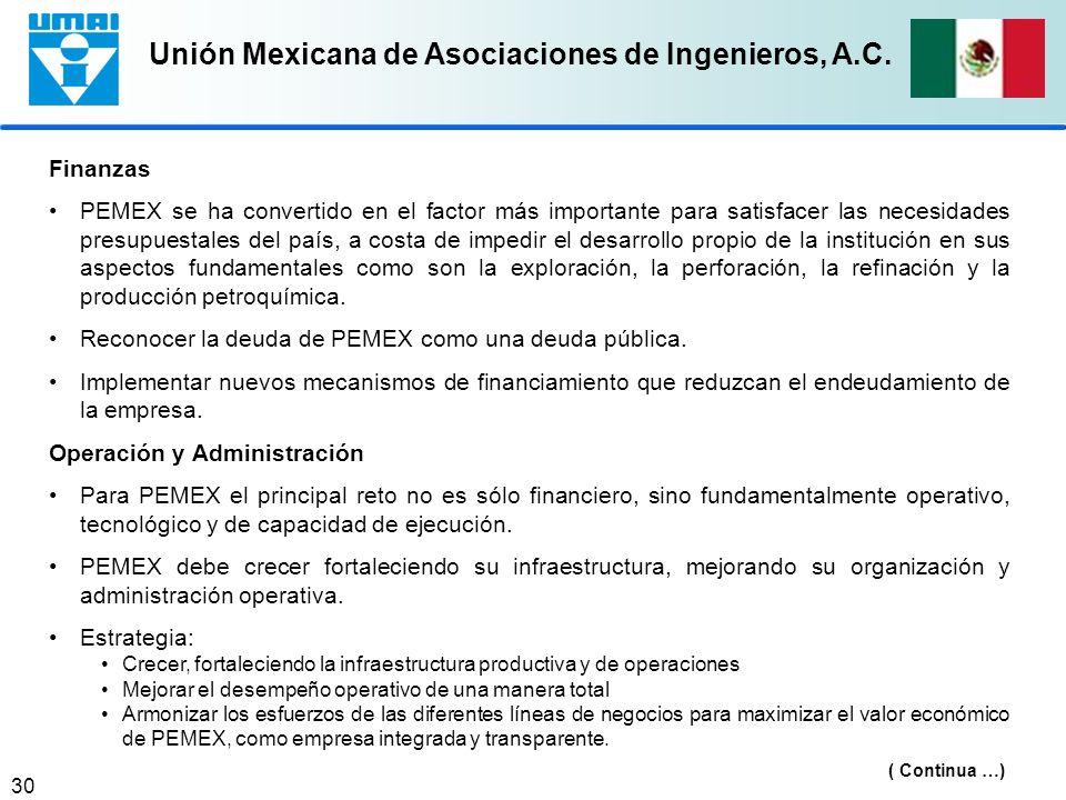 Unión Mexicana de Asociaciones de Ingenieros, A.C. 30 Finanzas PEMEX se ha convertido en el factor más importante para satisfacer las necesidades pres