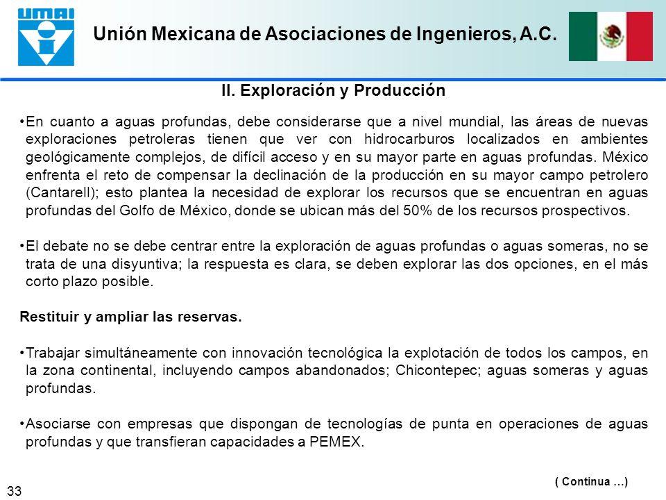 Unión Mexicana de Asociaciones de Ingenieros, A.C. 33 En cuanto a aguas profundas, debe considerarse que a nivel mundial, las áreas de nuevas explorac