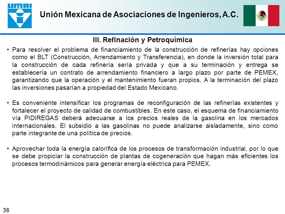 Unión Mexicana de Asociaciones de Ingenieros, A.C. 36 Para resolver el problema de financiamiento de la construcción de refinerías hay opciones como e