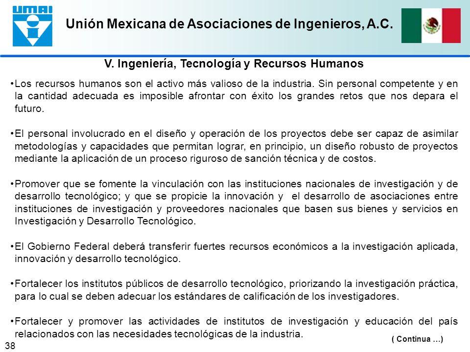 Unión Mexicana de Asociaciones de Ingenieros, A.C. 38 Los recursos humanos son el activo más valioso de la industria. Sin personal competente y en la