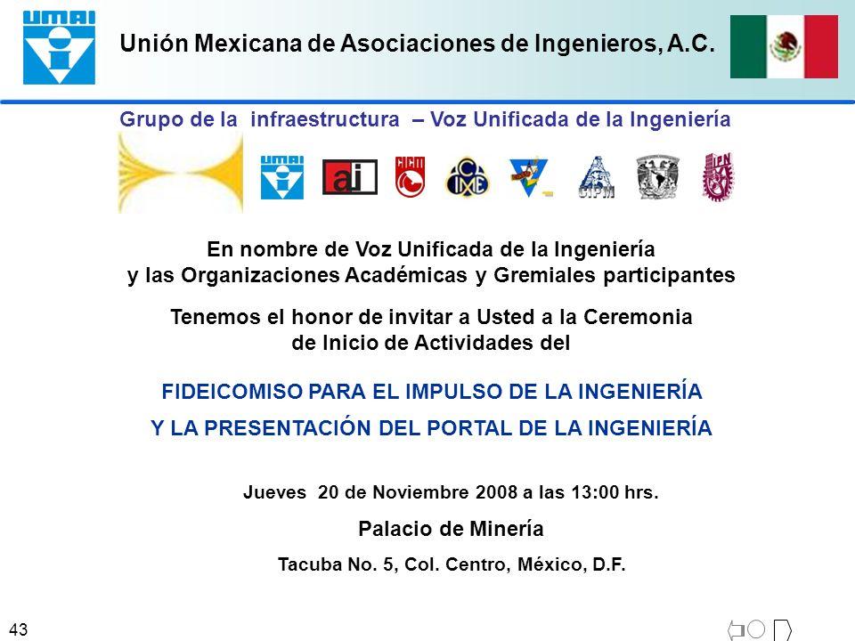 Unión Mexicana de Asociaciones de Ingenieros, A.C. 43 FIDEICOMISO PARA EL IMPULSO DE LA INGENIERÍA Y LA PRESENTACIÓN DEL PORTAL DE LA INGENIERÍA En no