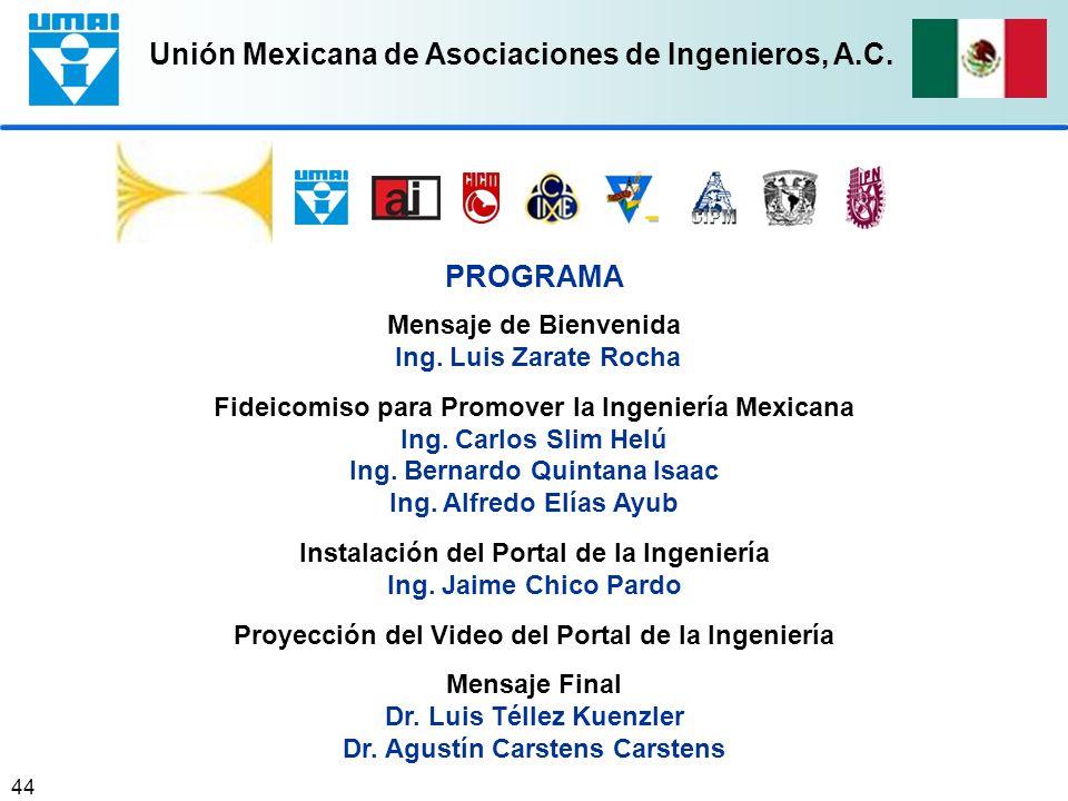 Unión Mexicana de Asociaciones de Ingenieros, A.C. 44 PROGRAMA Mensaje de Bienvenida Ing. Luis Zarate Rocha Fideicomiso para Promover la Ingeniería Me