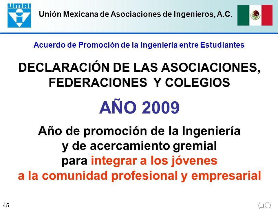 Unión Mexicana de Asociaciones de Ingenieros, A.C. 45 DECLARACIÓN DE LAS ASOCIACIONES, FEDERACIONES Y COLEGIOS AÑO 2009 Año de promoción de la Ingenie