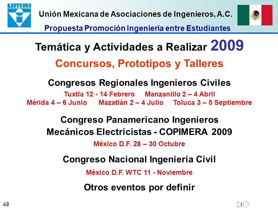 Unión Mexicana de Asociaciones de Ingenieros, A.C. 48 Temática y Actividades a Realizar 2009 Concursos, Prototipos y Talleres Congresos Regionales Ing