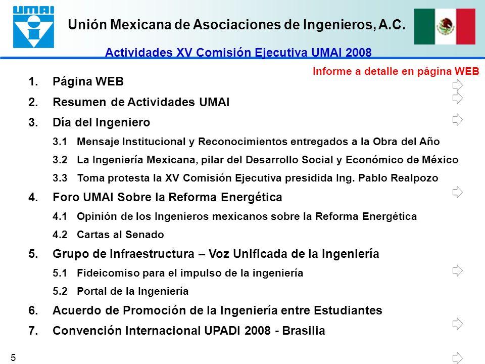 Unión Mexicana de Asociaciones de Ingenieros, A.C. 5 Actividades XV Comisión Ejecutiva UMAI 2008 1.Página WEB 2.Resumen de Actividades UMAI 3.Día del