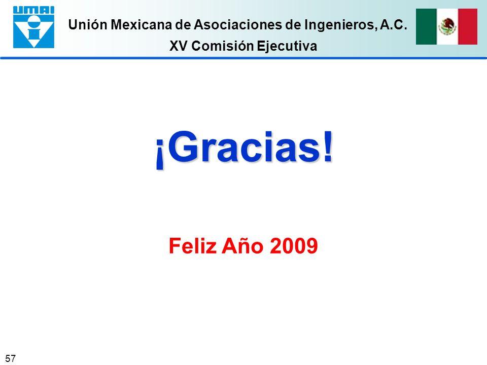 Unión Mexicana de Asociaciones de Ingenieros, A.C. 57 XV Comisión Ejecutiva ¡Gracias! Feliz Año 2009