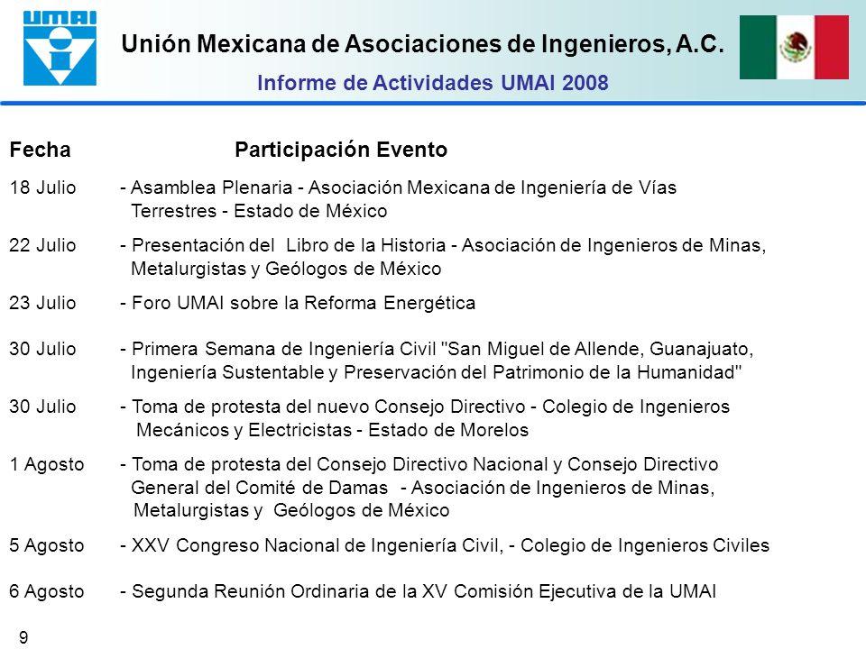 Unión Mexicana de Asociaciones de Ingenieros, A.C. 9 Fecha Participación Evento 18 Julio - Asamblea Plenaria - Asociación Mexicana de Ingeniería de Ví