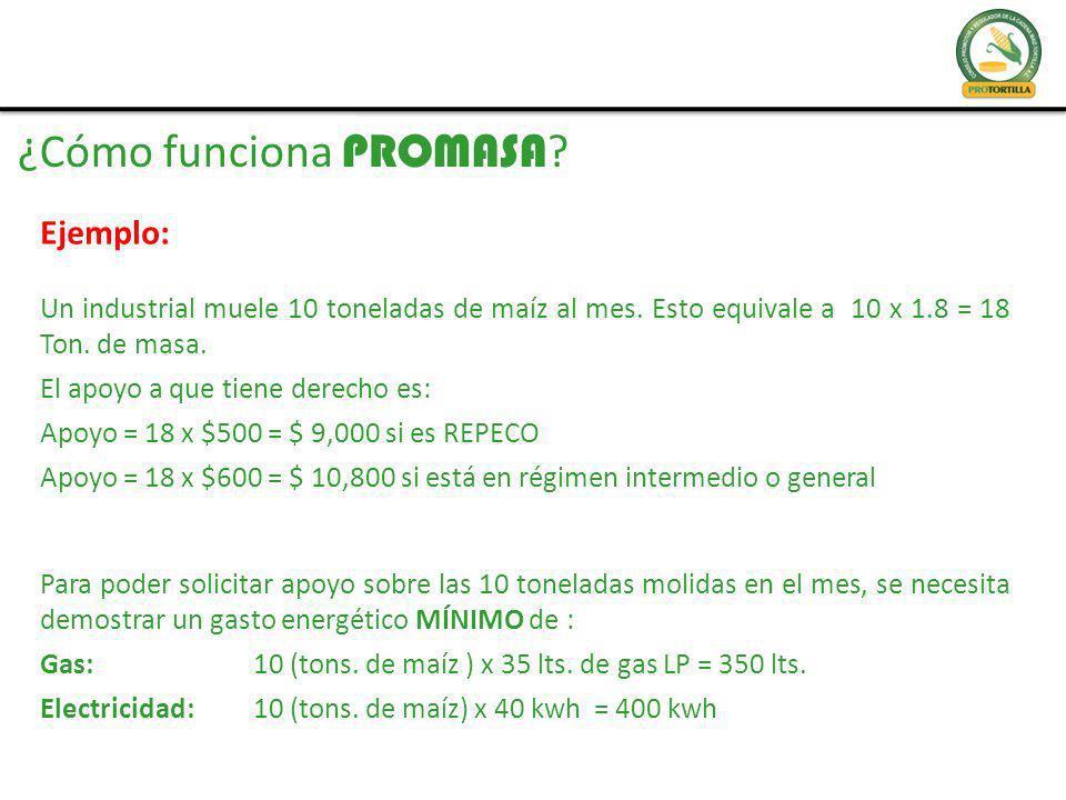 ¿Cómo funciona PROMASA .Ejemplo: Un industrial muele 10 toneladas de maíz al mes.