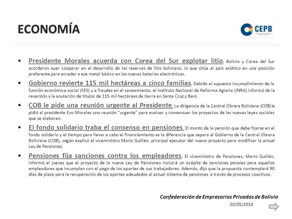 ECONOMÍA Presidente Morales acuerda con Corea del Sur explotar litio. Bolivia y Corea del Sur acordaron ayer cooperar en el desarrollo de las reservas