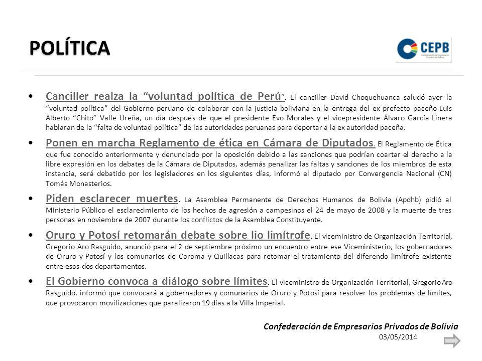 POLÍTICA Canciller realza la voluntad política de Perú.
