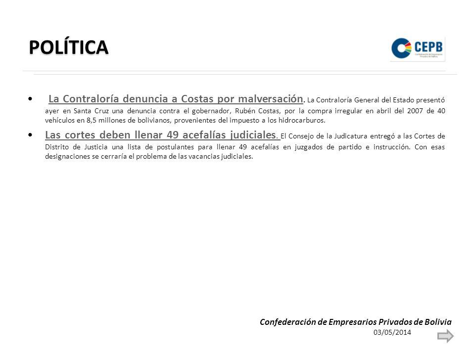 POLÍTICA La Contraloría denuncia a Costas por malversación. La Contraloría General del Estado presentó ayer en Santa Cruz una denuncia contra el gober