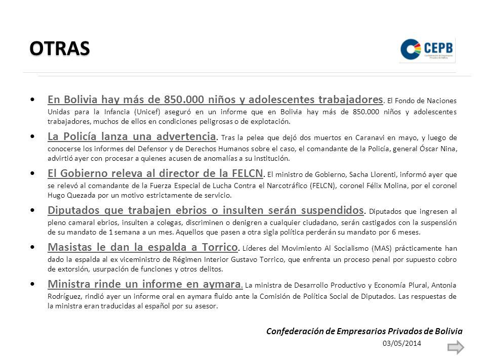 OTRAS En Bolivia hay más de 850.000 niños y adolescentes trabajadores. El Fondo de Naciones Unidas para la Infancia (Unicef) aseguró en un informe que