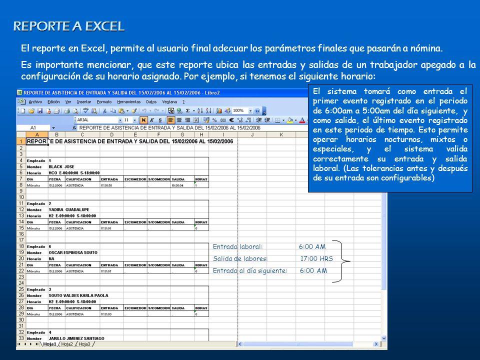 El reporte en Excel, permite al usuario final adecuar los parámetros finales que pasarán a nómina. Es importante mencionar, que este reporte ubica las