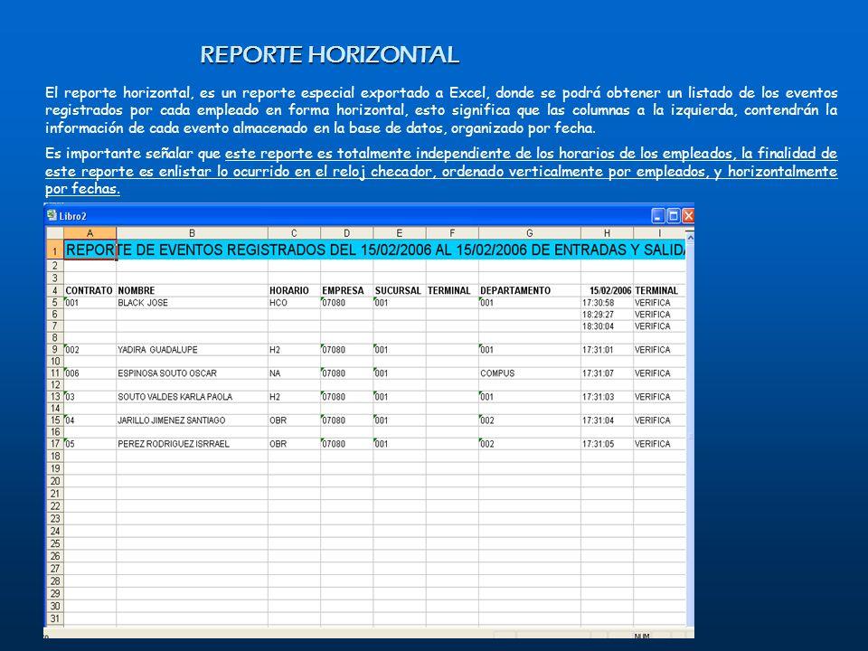 El reporte horizontal, es un reporte especial exportado a Excel, donde se podrá obtener un listado de los eventos registrados por cada empleado en for