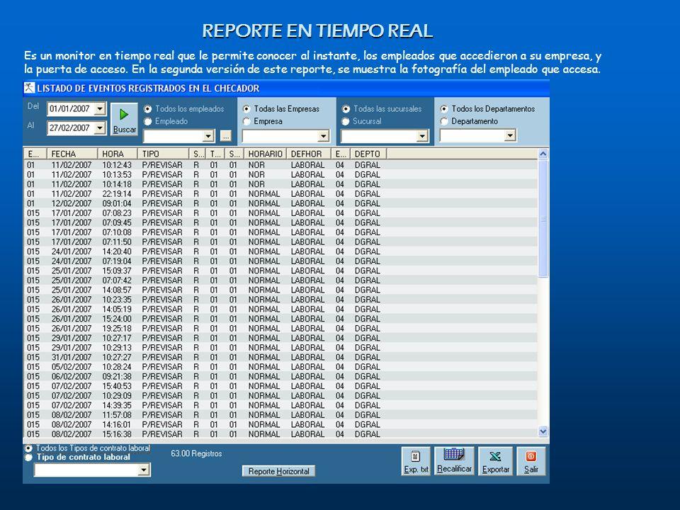REPORTE EN TIEMPO REAL Es un monitor en tiempo real que le permite conocer al instante, los empleados que accedieron a su empresa, y la puerta de acce