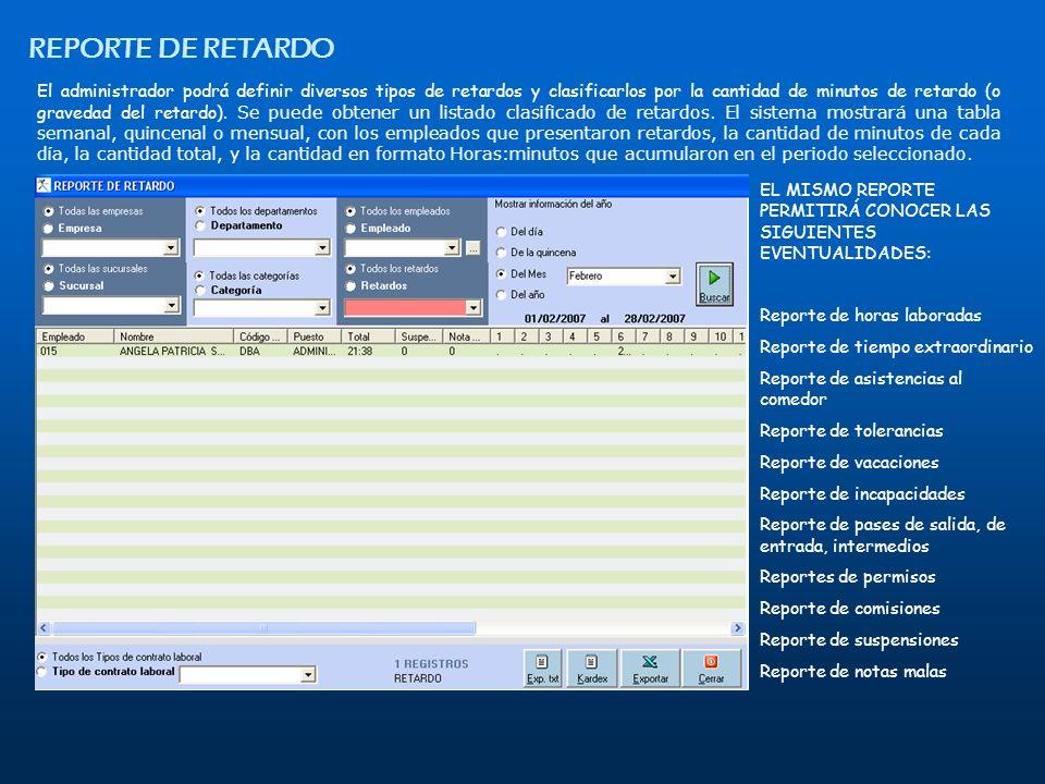 REPORTE DE RETARDO El administrador podrá definir diversos tipos de retardos y clasificarlos por la cantidad de minutos de retardo (o gravedad del ret