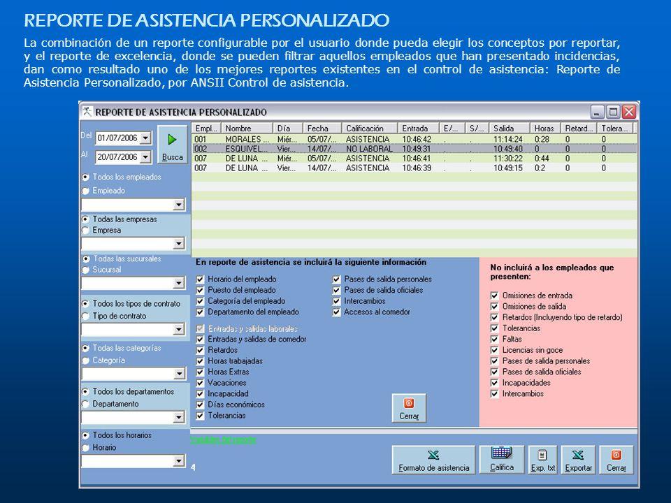 REPORTE DE ASISTENCIA PERSONALIZADO La combinación de un reporte configurable por el usuario donde pueda elegir los conceptos por reportar, y el repor